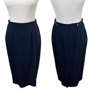 Armani Collezioni Crepe Pencil Skirt (Navy)